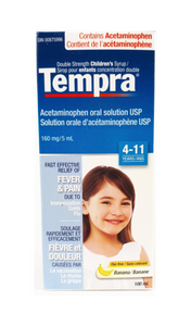 Tempra Childrens Acetaminophen Syrup 160mg/5mL, Banana flavor, 100 mL - Green Valley Pharmacy Ottawa Canada