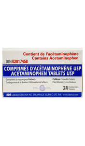 Acetaminophen Childrens Chewable tablets, grape flavor, 24 tablets - Green Valley Pharmacy Ottawa Canada