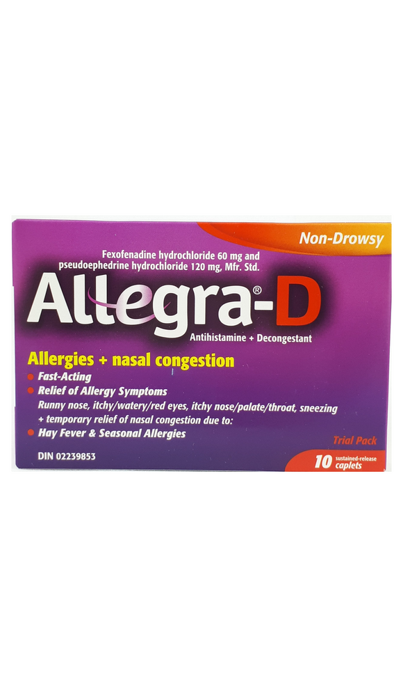 Allegra-D, 10 tablets - Mobile Pharmacy Ottawa Canada