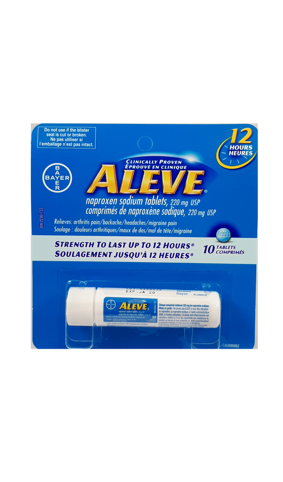 Aleve travel size 220mg, 10 tablets - Green Valley Pharmacy Ottawa Canada
