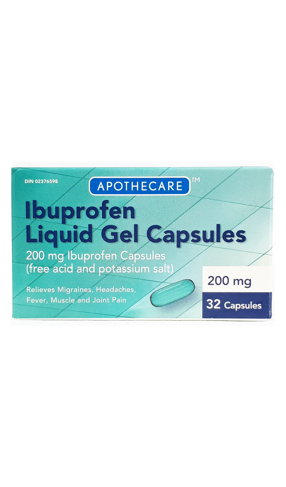 Ibuprofen Liquid Gels Capsules, 200mg, 32 capsules - Green Valley Pharmacy Ottawa Canada