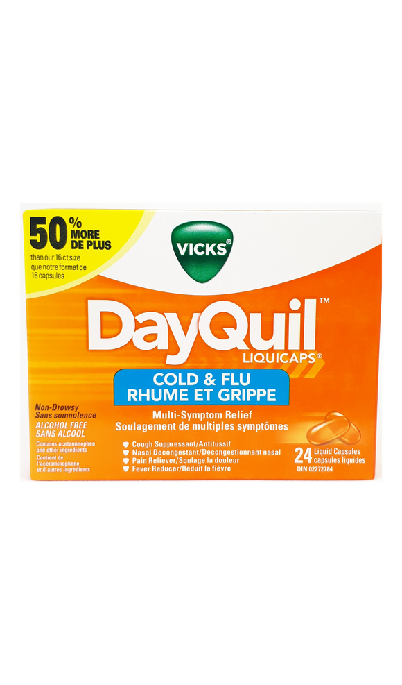 DayQuil Cold & Flu, 24 capsules - Green Valley Pharmacy Ottawa Canada