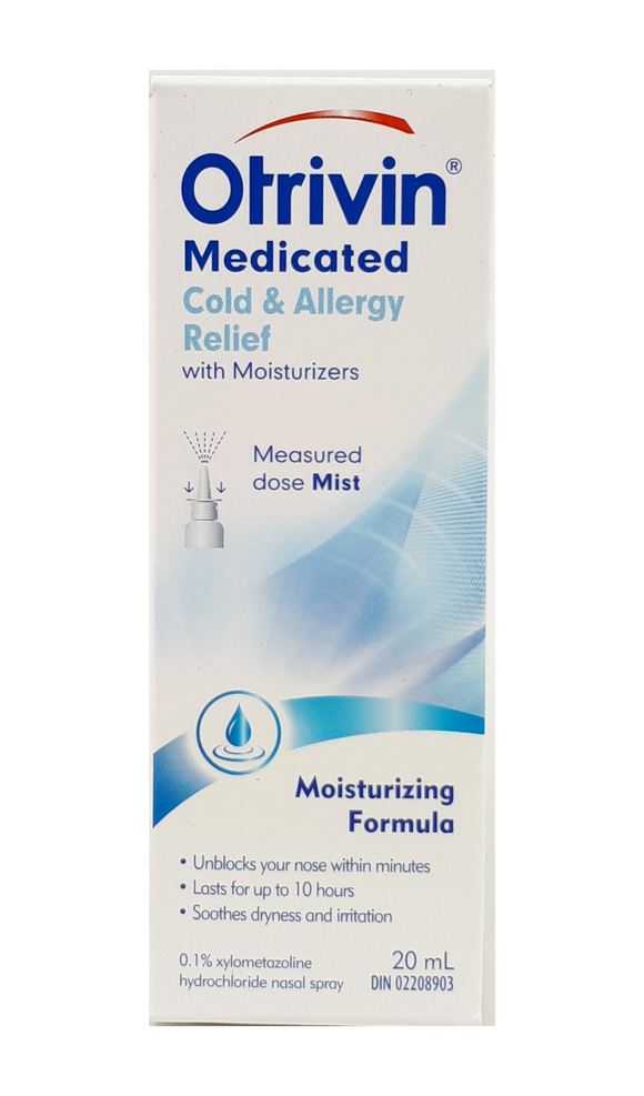 Otrivin 0.1%  Medicated Nasal Mist, 20mL - Green Valley Pharmacy Ottawa Canada