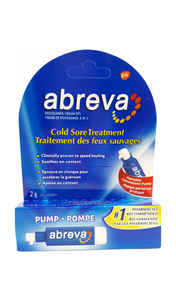 Abreva Cold Sore Treatment, Pump, 2g - Green Valley Pharmacy Ottawa Canada