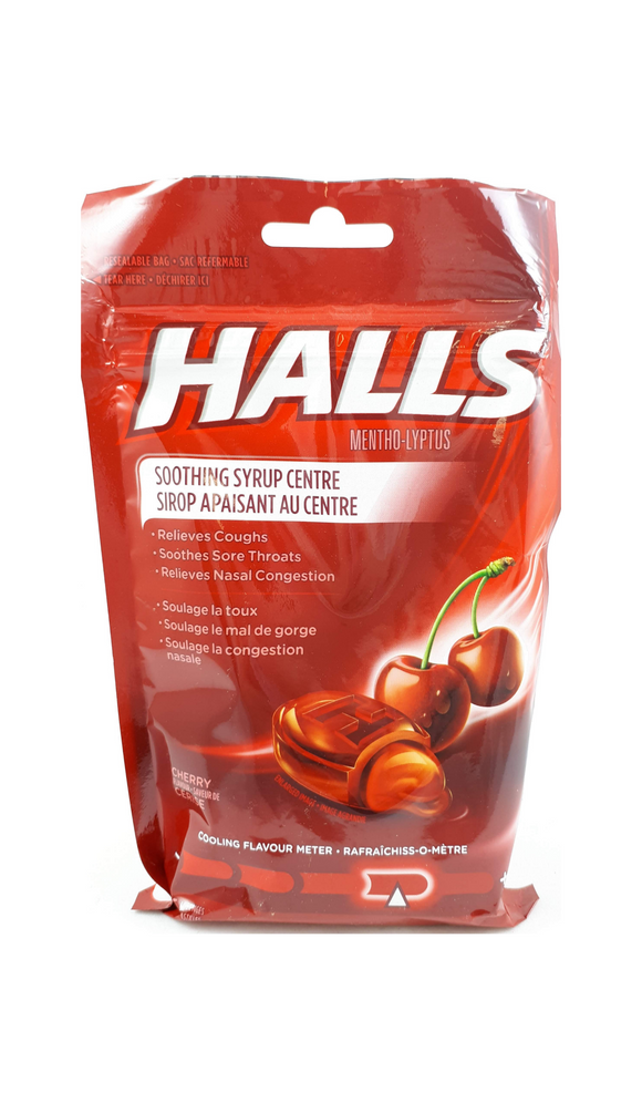 Halls Mentho-Lyptus, Cherry flavor, 25 lozenges - Green Valley Pharmacy Ottawa Canada