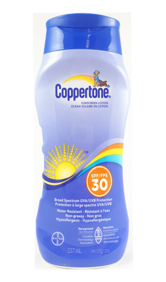 Coppertone Sunscreen Lotion, SPF 30, 237 mL - Green Valley Pharmacy Ottawa Canada