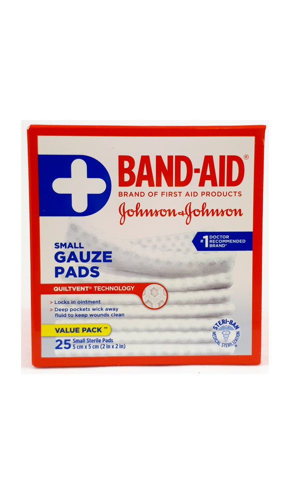 Band-Aid Gauze Pads, Small, 25 pads - Green Valley Pharmacy Ottawa Canada