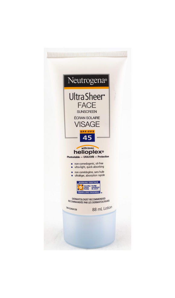 Neutrogena Ultra Sheer Face, 45 SPF, 88 mL - Green Valley Pharmacy Ottawa Canada