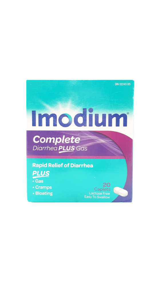 Imodium Complete, Diarrhea Plus Gas, 20 caplets - Green Valley Pharmacy Ottawa Canada