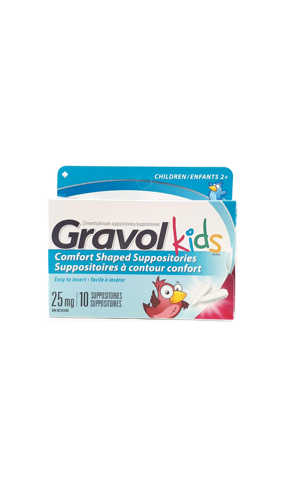 Gravol Suppositories Kids, 25mg, 10 suppositores - Green Valley Pharmacy Ottawa Canada