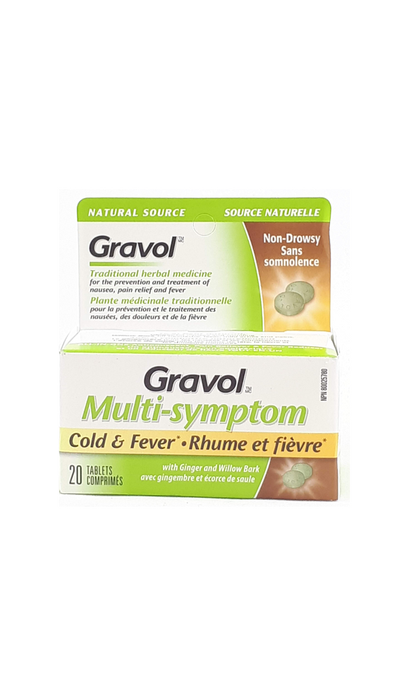 Gravol, Multi-Symptom, Cold &  Fever, 20 tablets - Green Valley Pharmacy Ottawa Canada