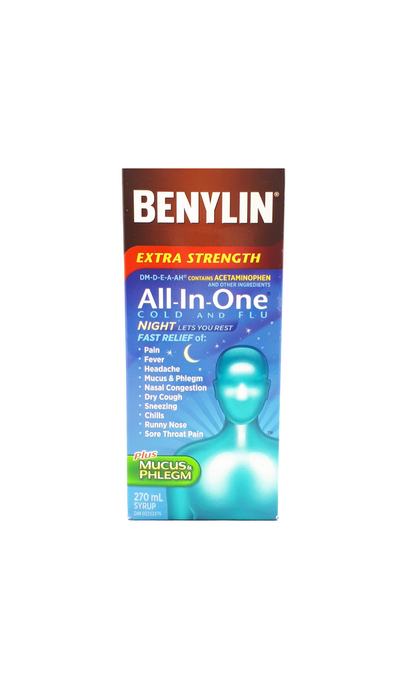 Benylin XS All In One Cold and Flu Night, 270 mL - Green Valley Pharmacy Ottawa Canada