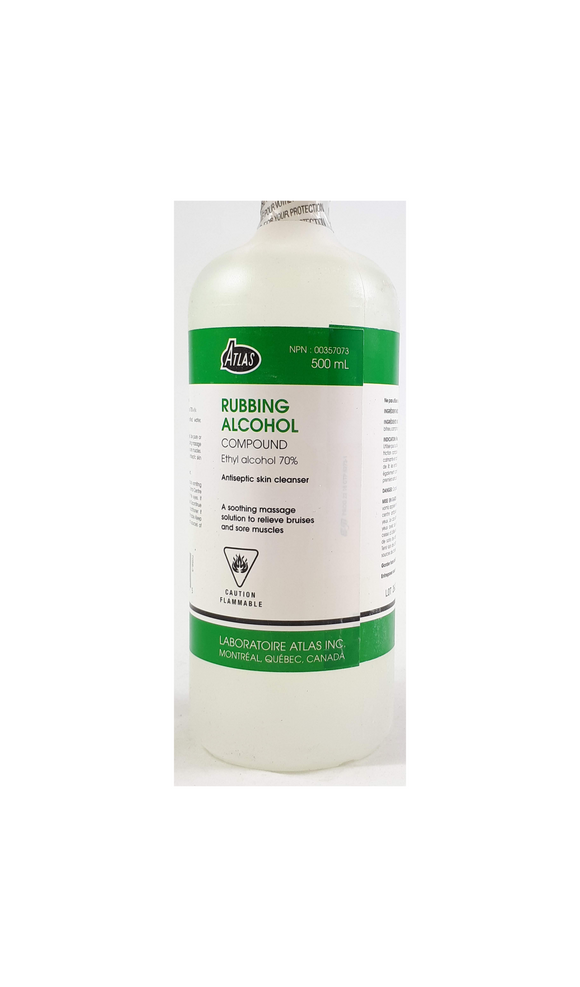 Rubbing Alcohol 70%, 500 mL - Green Valley Pharmacy Ottawa Canada