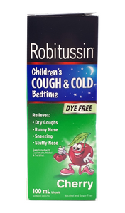 Robitussin Children's Cough & Cold Bedtime, Cherry, 100 mL - Green Valley Pharmacy Ottawa Canada