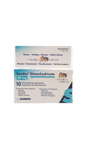 Dimenhydrinate, 50mg, 10 suppositories - Green Valley Pharmacy Ottawa Canada