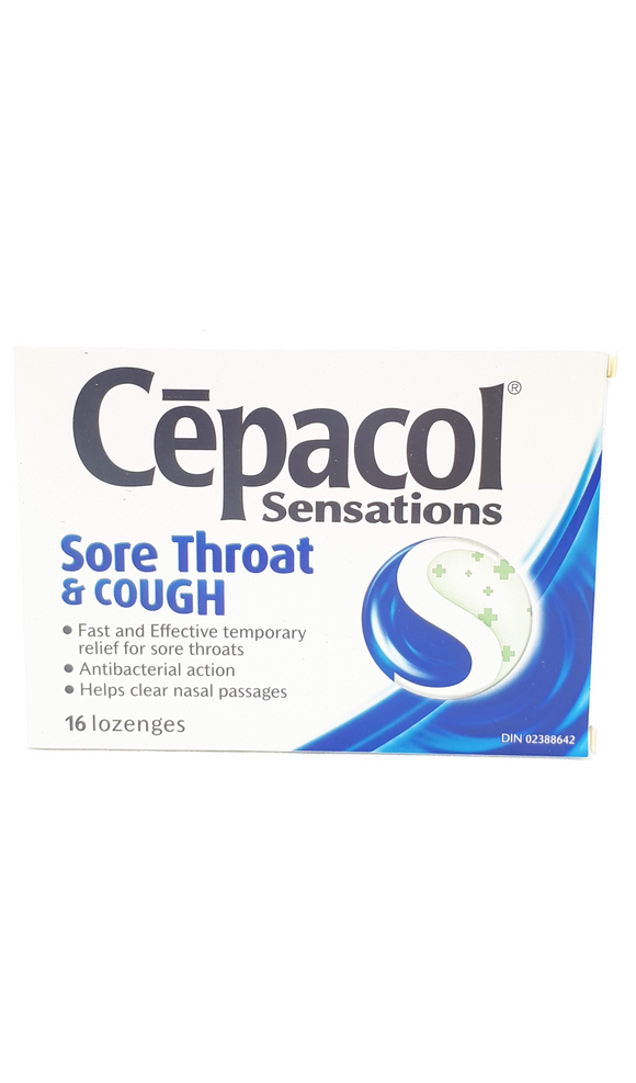 Cepacol Sensations, Sore Throat & Cough, 16 lozenges - Green Valley Pharmacy Ottawa Canada