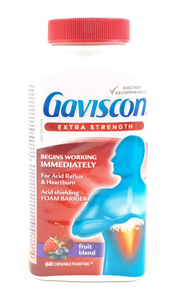 Gaviscon Extra Strength, Fruit Blend, 60 Tablets - Green Valley Pharmacy Ottawa Canada