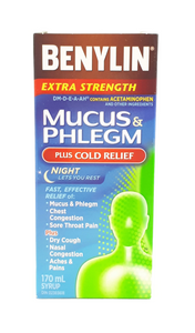Benylin Extra-Strength, Mucus & Phlegm Plus Cold Relief, 170 mL - Green Valley Pharmacy Ottawa Canada