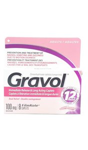 Gravol, Long-Acting, 100mg, 8 Tablets - Green Valley Pharmacy Ottawa Canada