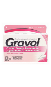 Gravol Suppositories, 100mg, 10 suppositories - Green Valley Pharmacy Ottawa Canada