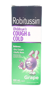 Robitussin Childrens Cough & Cold, Grape Flavor, 100 mL - Green Valley Pharmacy Ottawa Canada