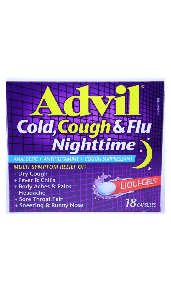 Advil Cold Cough & Flu Nighttime, 18 Capsules - Green Valley Pharmacy Ottawa Canada