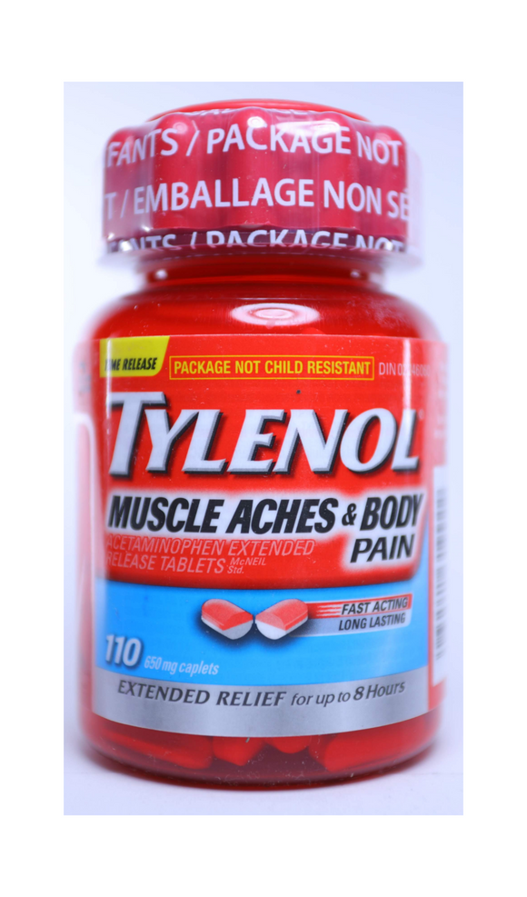 Tylenol Muscle Aches & Body Pain, 650mg, 110 Caplets - Green Valley Pharmacy Ottawa Canada