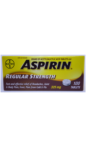 Aspirin Regular Strength, 100 Tablets - Green Valley Pharmacy Ottawa Canada