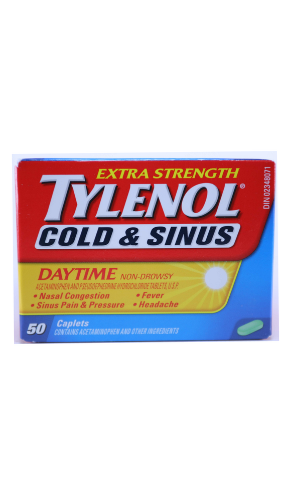 Tylenol Cold & Sinus, Daytime, 50 Caplets - Green Valley Pharmacy Ottawa Canada