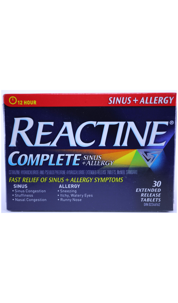 Reactine Complete, Sinus & Allergy, 30 Tablets - Green Valley Pharmacy Ottawa Canada