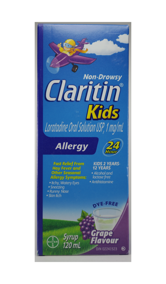 Claritin, Kids, Grape Flavor, 120 mL - Green Valley Pharmacy Ottawa Canada