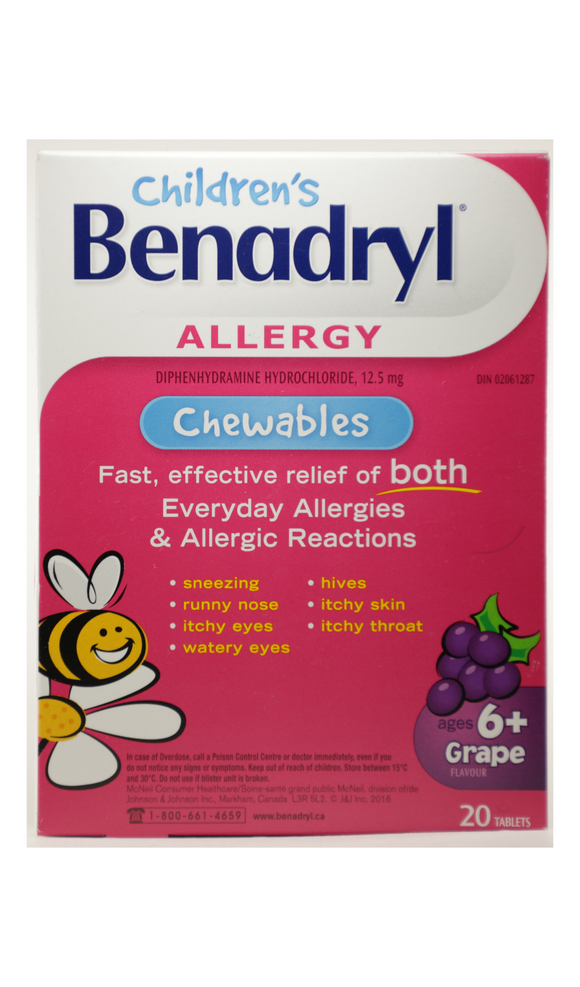 Benadryl Allergy for Kids, Grape Flavor, 20 Tablets - Mobile Pharmacy Ottawa Canada