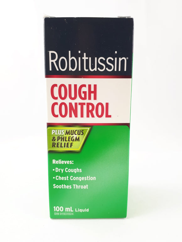 Robitussin Cough Control Plus Mucus and Phlegm Relief, 100mL - Green Valley Pharmacy Ottawa Canada