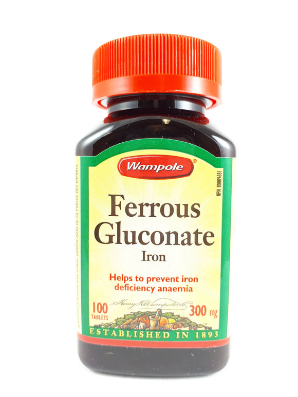 Wampole Ferrous Gluconate 300mg, 100 Tablets - Green Valley Pharmacy Ottawa Canada