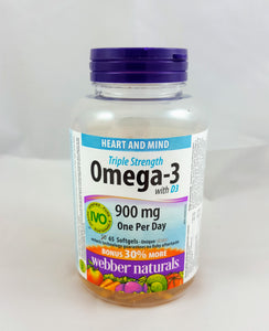 Webber naturals- Omega-3 900mg with D3. 65 Softgels - Green Valley Pharmacy Ottawa Canada