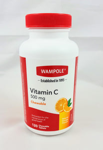 Vitamin C 500mg, 120 chewable tablets - Green Valley Pharmacy Ottawa Canada