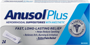 Anusol Plus Suppositories, 24 suppositories - Green Valley Pharmacy Ottawa Canada