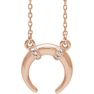 14k Necklace Crescent Diamond