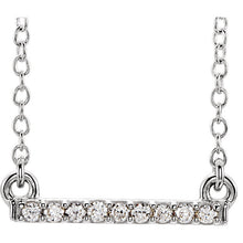 Necklace of 14k Mini Diamond Bar