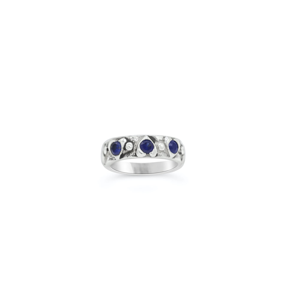 Multi heart Ring in Blue Sapphire