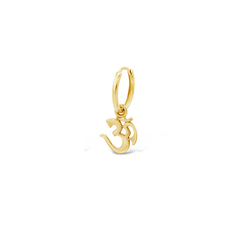Solitaire 'Om' Charm Huggie