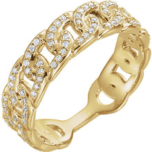 14k Diamond Interlocking Link Ring