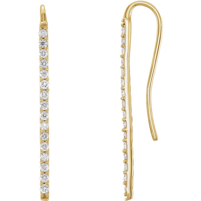 14k Diamond Bar Drop Earring