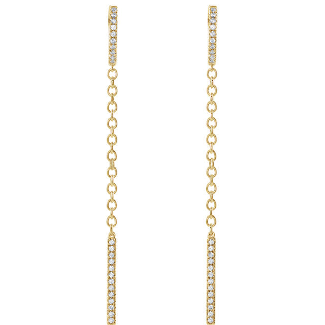 14K Hinged Diamond Hoop Chain Earrings