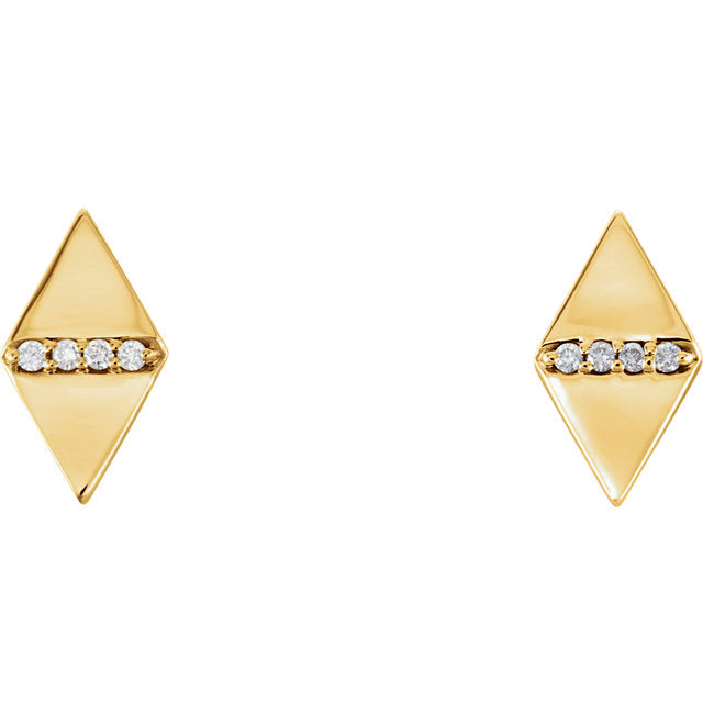 14k Diamond Geometric Triangle Studs