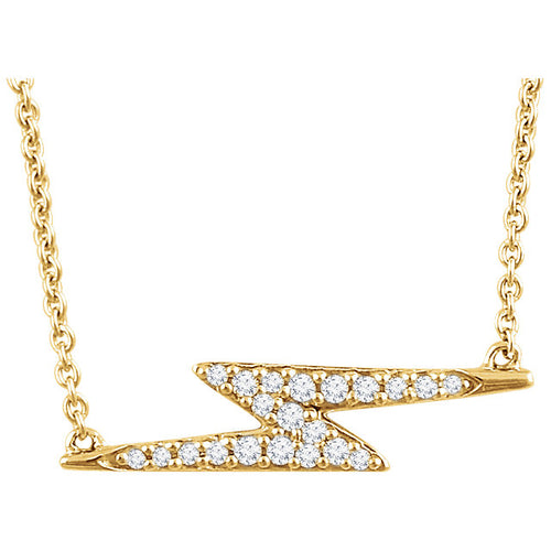 14k Diamond Lighting Bolt Necklace