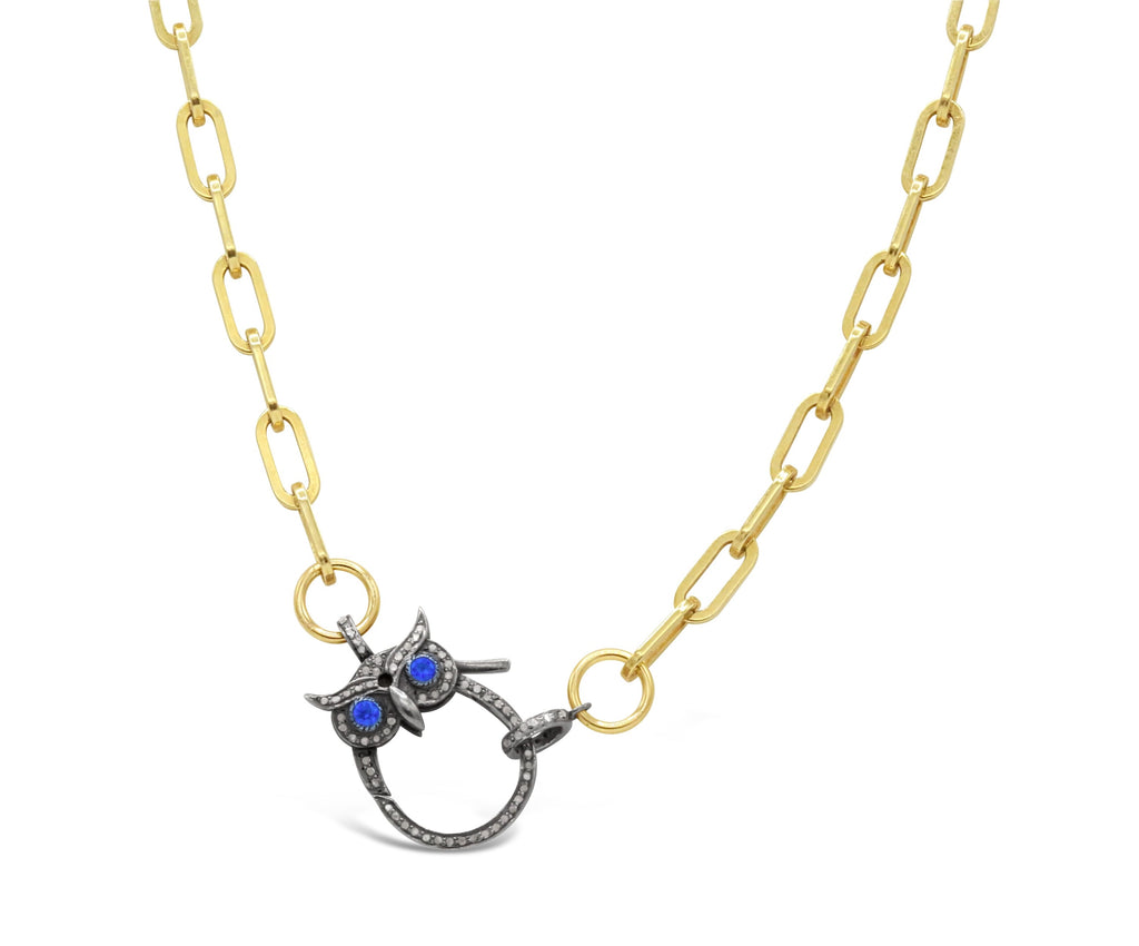Blue Sapphire Eye Diamond Owl Necklace