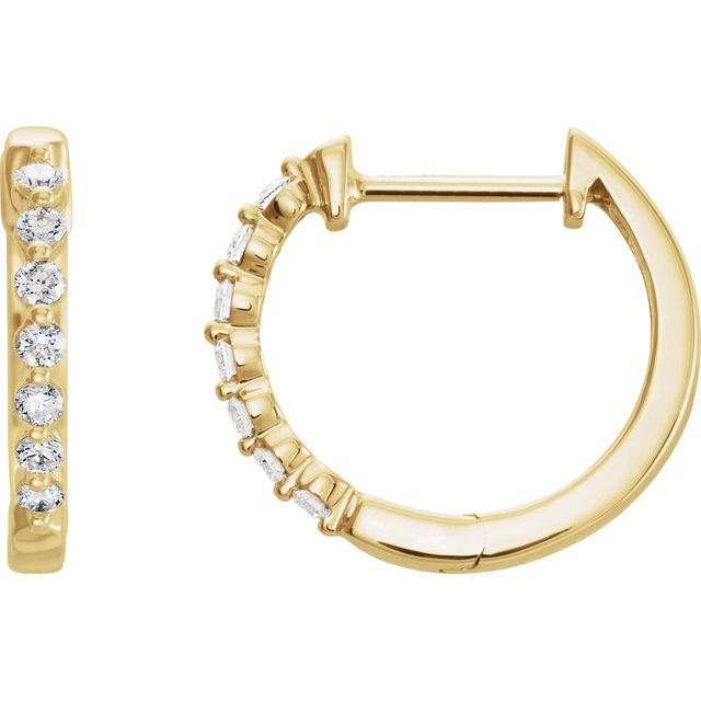 14K Diamond 15.25 mm Hoop Earrings