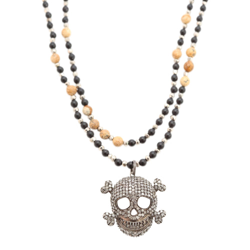 Necklace Diamond Beaded Skull