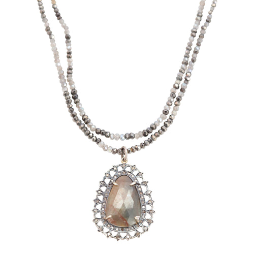 Delicate Oval Sapphire and Moonstone Pendent Necklace